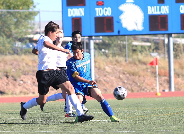 High school soccer players from Williams and Ash Fork faced off during a Sept. 22 game in Ash Fork. (Loretta McKenney/WGCN)