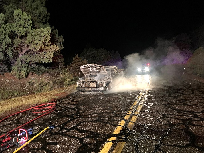 On Sept. 24, around 12:30 a.m., Williams Fire responded to a report of a single vehicle fire near mile marker 171 on Perkinsville Road. (Photo/Williams Volunteer Fire Dept.)