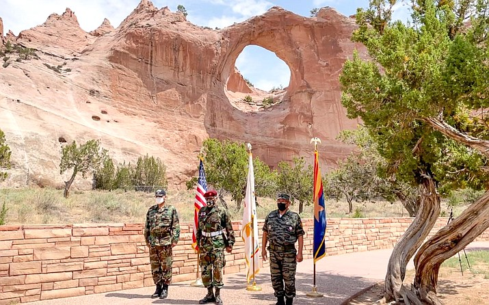 Western Navajo Agency Veterans, Billy Goodman, Jr., Leslie Dele and Don Coleman posting colors for the 2021 Navajo Nation Council Summer Session. Currently, there is no Veteran's Affairs office or direct federal service available on the Navajo Nation. (Photo courtesy of the Navajo Nation Council)