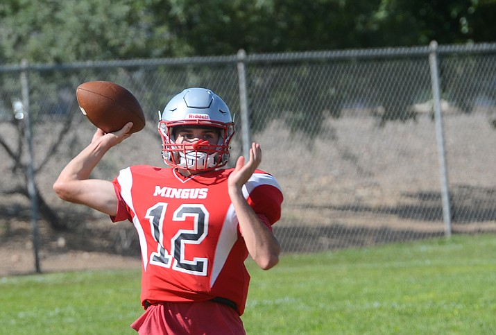 Zach Harrison works on his throwing in practice in August. Harrison threw for two touchdowns and ran for two more in a 51-0 win over Alhambra on Thursday, Sept. 23, 2021. (Vyto Starinskas/Independent, file)