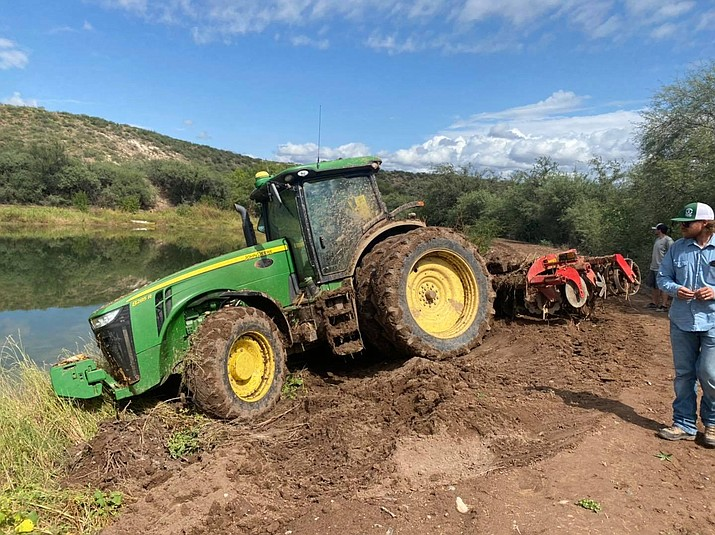 The Hauser and Hauser Farms posted these photos showing the damage to their equipment and fields on Tuesday, Sept. 28, 2021, after someone drove their tractor through their cornfields on Monday. (Claudia Hauser/Courtesy)