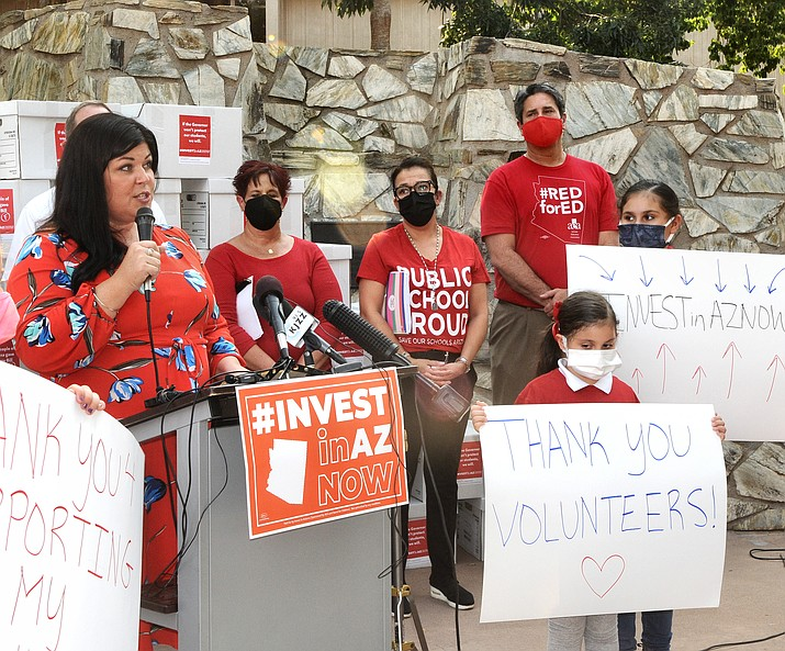 Beth Lewis, co-founder of Save Our Schools Arizona, said Tuesday, Sept. 28, 2021, that volunteers will now be working not only to get people to veto in 2022 the legislative tax cuts but also elect politicians who will fund Arizona schools. (Howard Fischer/Capitol Media Services)