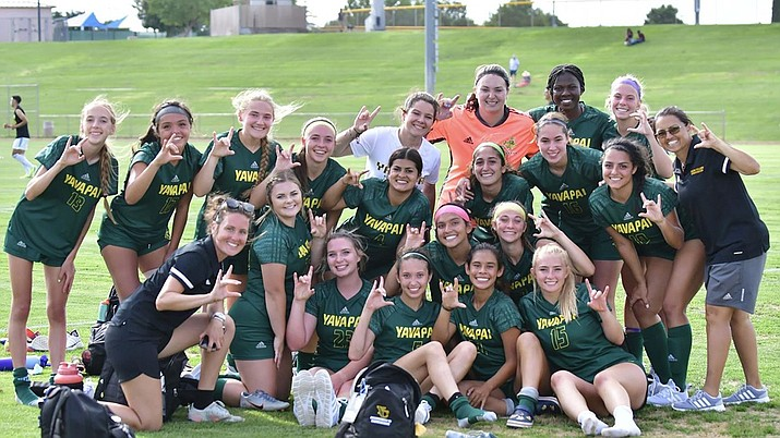 The Yavapai College women's soccer team fell 2-0 at Mountain Valley Park Tuesday night against the Mesa Community College Thunderbirds in its second ACCAC contest of the year.