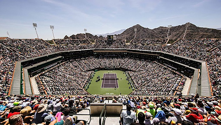 Center court at the BNP Tennis Masters at Indian Wells, in 2020. (Courtesy)
