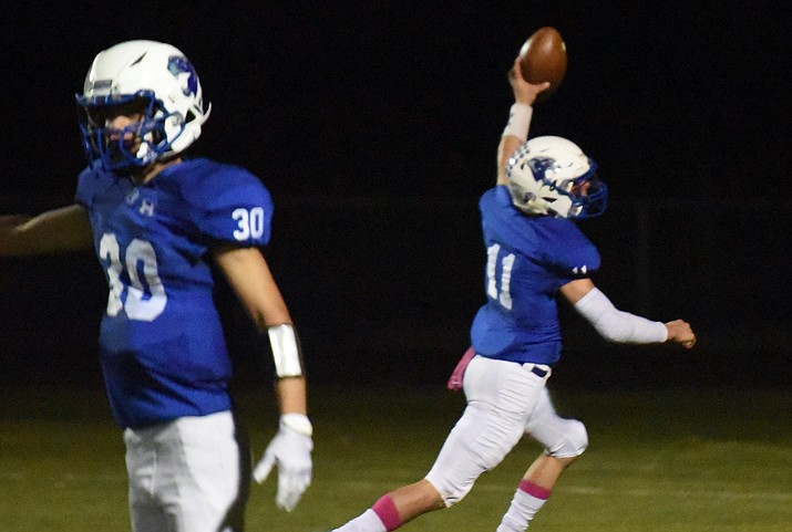 Chino Valley quarterback Jayden Smith runs for the end zone during a game against Coronado on Friday, Oct. 1, 2021. (Jesse Bertel/Courier)
