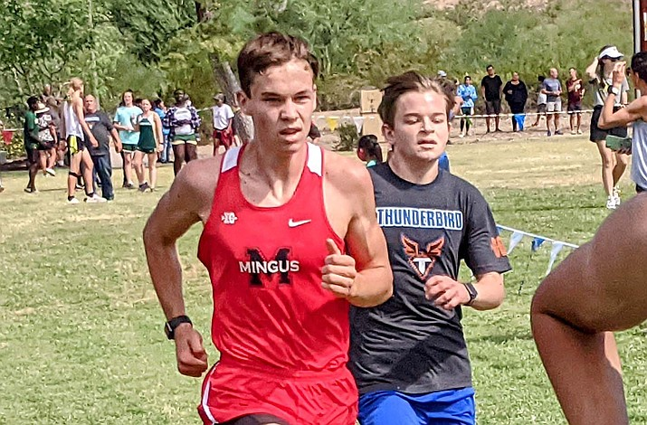 Mingus junior Avery Whitsett recorded his fifth personal record in as many weeks with a 16:55 clocking at the Thunderbird Invitational on Saturday, Oct. 2, 2021. That ranks as the eighth-fastest time ever by a Mingus runner for 2.8 miles. (Dan Engler/Courtesy)
