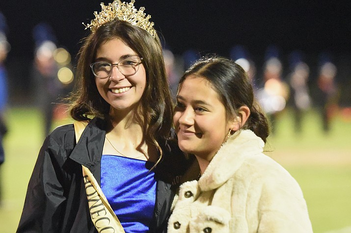 Homecoming Queen Brynn Preston, pictured with Student Council Member Sandra Ayala, was crowned Friday night, Oct. 1, 2021, at the Chino Valley High School football game. The king, Ravi Holladay, was not able to attend — he is a soccer player and was at a tournament. Also not pictured were, for juniors, the Prince and Princess were Nicholas Morin and Ashlynn Olson; sophomores, Duke and Duchess were Auron Stuller and Mariah Loftin; and freshmen, Count and Countess were Fredrick Garcia and Aden Hubble. (Jesse Bertel/Review)