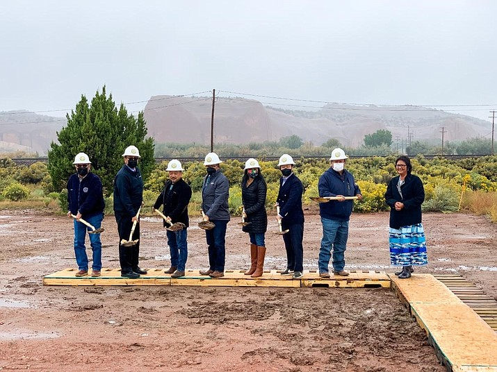 Navajo Nation Budget and Finance Chairman Jamie Henio joins Rhino Health CEO, Mark Lee, during the Church Rock Factory groundbreaking ceremony Oct. 1.  (Photo/Office of the Speaker)