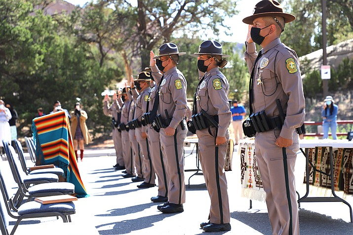 Navajo Nation Police recruits are administered the oath of honor by District Court Judge Cynthia Thompson Sept. 24 in Window Rock, Arizona. (Photo/Office of the President)