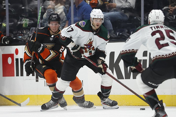 Arizona Coyotes forward Alex Galchenyuk (17) controls the puck away from Anaheim Ducks forward Isac Lundestrom (21) during the second period of a game Wednesday, Sept. 29, 2021, in Anaheim, Calif. (Ringo H.W. Chiu/AP)
