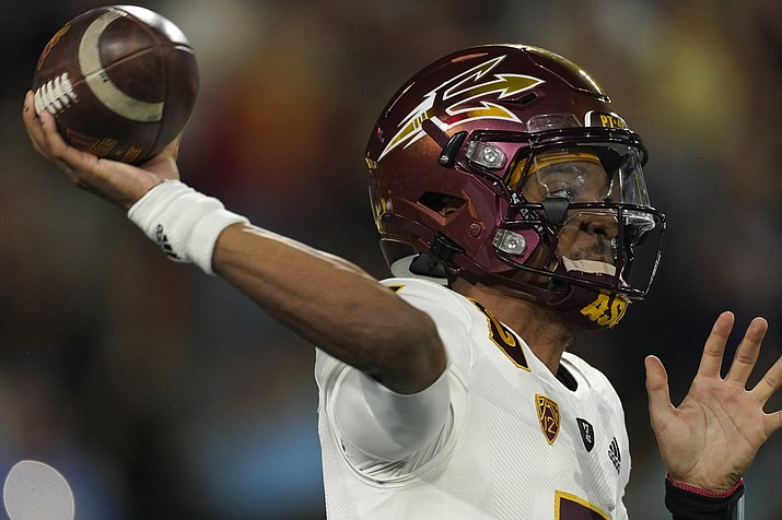 Arizona State quarterback Jayden Daniels passes during the second half of an NCAA college football game Saturday, Oct. 2, 2021, in Pasadena, Calif. Arizona State won 42-23. (Mark J. Terrill/AP)