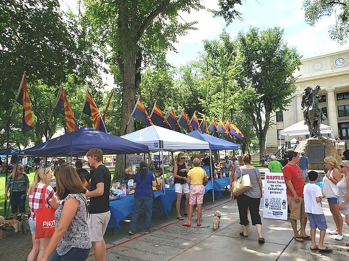 Shown is a United Animal Friends Woof Down lunch on the courthouse plaza. Beginning on Jan. 1, 2022, the use fees for vendors on the Yavapai County Courthouse Plaza will be going up – the first such increase in about two decades. (Courier file photo)