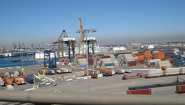 Due to delays on goods shipped from China, some toy companies are struggling to get products on the shelves with Christmas approaching. The container port in Long Beach, California, is pictured. (Photo by biofriendly, cc-by-sa-2.0, https://bit.ly/3uQ3jh7)
