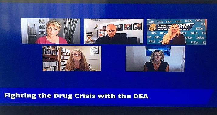 """Leslie Horton, top left, director of the Yavapai County Community Health Services, joined a panel of experts on a ABC 15 forum called """"What Every Family Needs to Know About Opioids,"""" on Thursday, Oct. 7, 2021. (Screenshot)"""