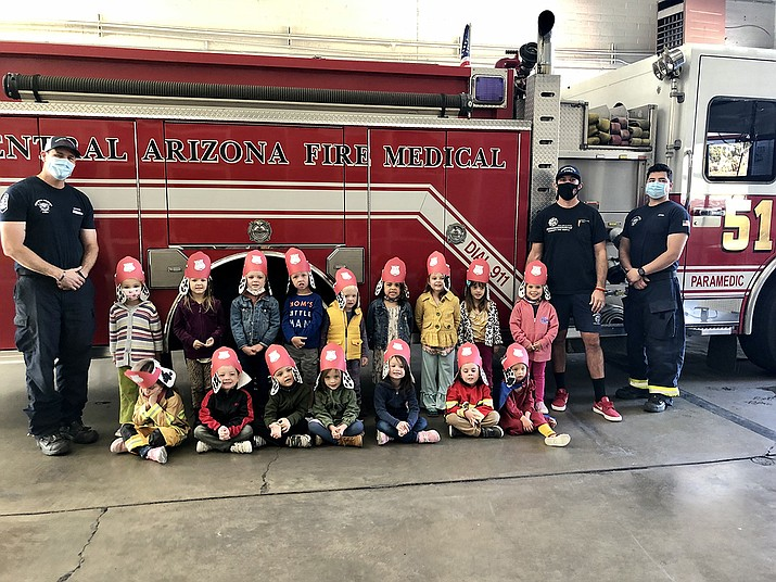 Prescott Unified School District preschoolers from Discovery Gardens at Abia Judd recently visited Central Yavapai Fire Station 51 for Fire Safety month.(PUSD/Courtesy)