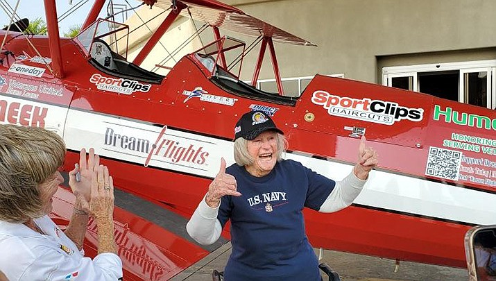 """The Ageless Aviation Dreams Foundation paid a visit to Lake Havasu City Airport last week to provide complimentary """"Dream Flights"""" in World War II-era Boeing Stearman open-cockpit biplanes to World War II veterans. (Courtesy photo)"""