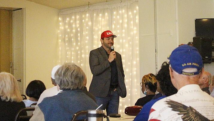 State Rep. Leo Biasiucci (R-Lake Havasu City) speaks to the Conservative Republican Club of Kingman on Monday, Oct. 11. (Photo by MacKenzie Dexter/Kingman Miner)
