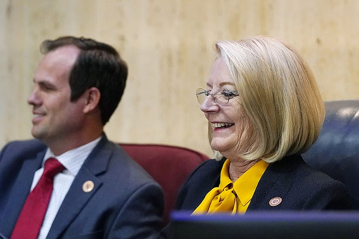 Shown are Arizona Senate President Karen Fann, R-Prescott, and state Sen. Warren Petersen, R-Gilbert, prior to the Arizona Senate Republican hearing on the audit findings of the 2020 election results in Maricopa County at the Arizona Capitol in September. A judge on Tuesday rejected a Senate claim that some of its records about the audit are not public, but said the Senate may turn the documents over to him and he will decide after reviewing them privately whether they are public. (Ross D. Franklin/AP File)
