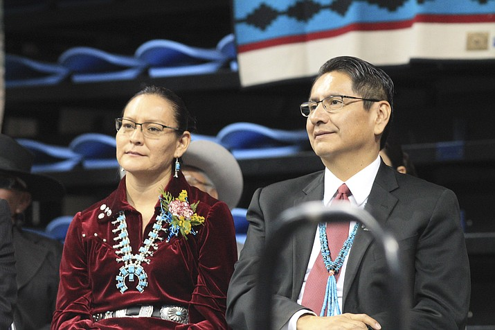 Navajo Nation President Jonathan Nez and First Lady Phefelia Nez at his 2019 inauguration. On Oct. 4, the Navajo Nation Fiscal Recovery Fund Office was established to oversee and implement the Coronavirus State and Local Fiscal Recovery Funds program. (Loretta McKenney/NHO)