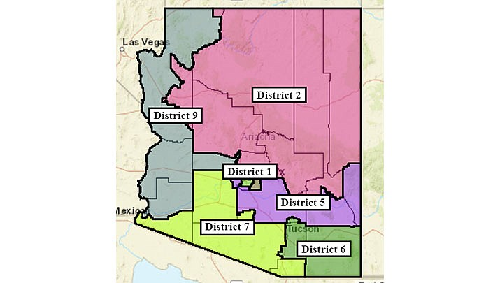 This map shows the proposed realignment of congressional district in Arizona following the 2020 census. (Map courtesy of Howard Fischer)