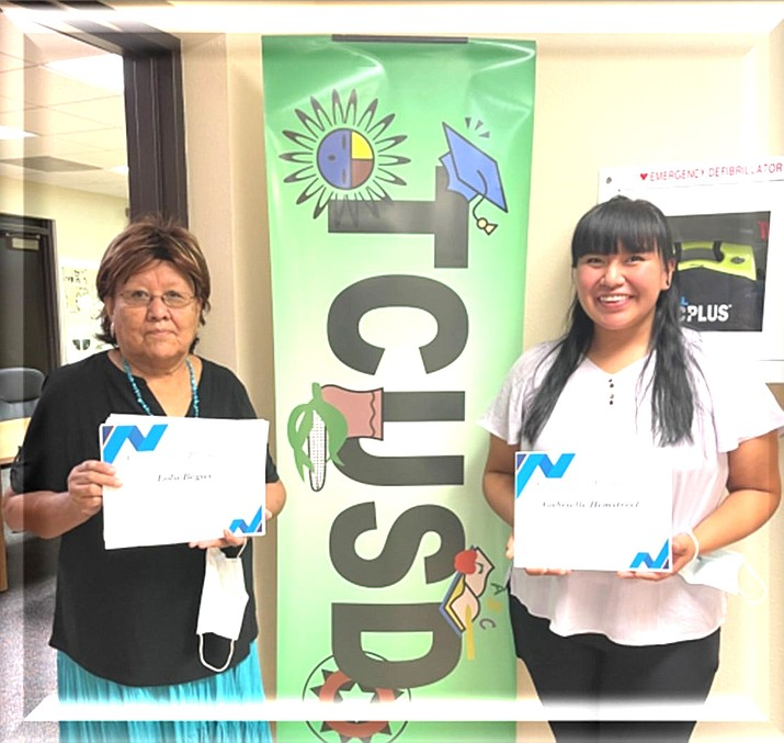 Tuba City Unified School District recognized Lola Begay (left) and Gabrielle Hemstreet (right) for the month of August. (Photo/Tuba City Unified School District)