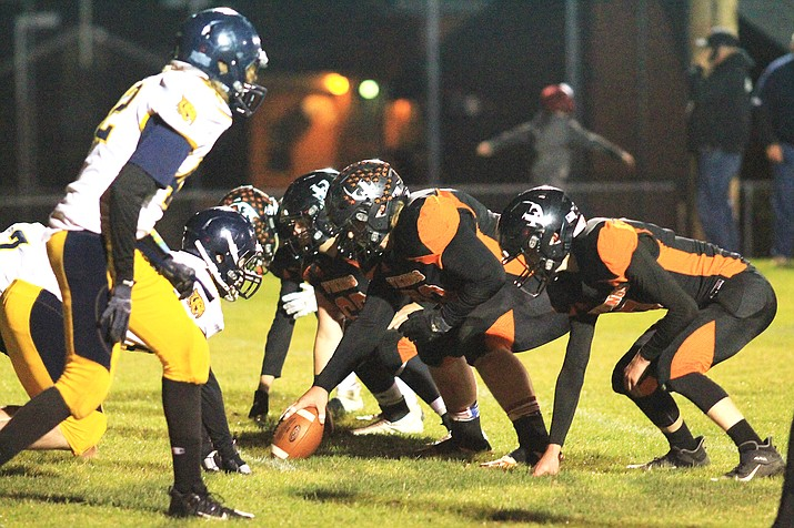 The Vikings offensive line battles the Joseph City Wildcats in an earlier season game. The Oct. 8 loss against Mogollon was only the second loss of the season for the Vikings. (Wendy Howell/WGCN)