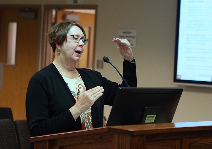 Chino Valley Presiding Magistrate Joan Dwyer gives a presentation on Ordinance No. 2021-905, which regards a home detention program, during a Chino Valley Town Council Meeting on Tuesday, Sept. 28, 2021. (Town of Chino Valley/Courtesy)