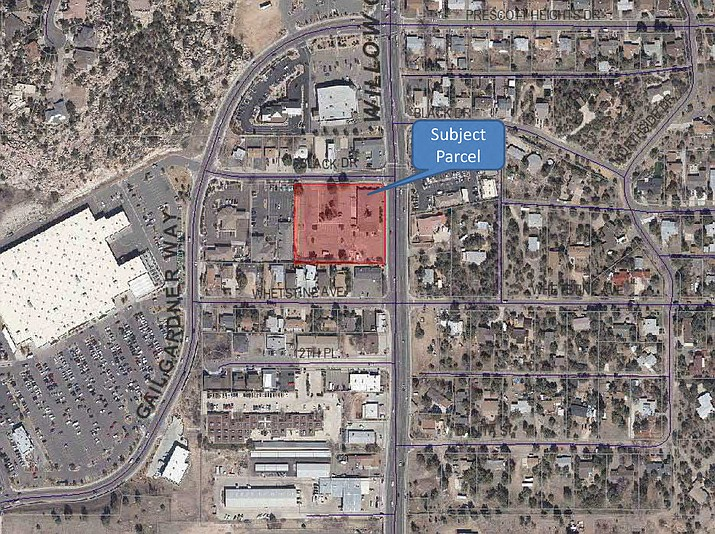 Shown is the First Christian Church property at the corner of Black Drive and Willow Creek Road in Prescott rezoned by City Council for the relocation of Jay's Bird Barn, owned by Councilman-elect Eric Moore. (City of Prescott/Courtesy)