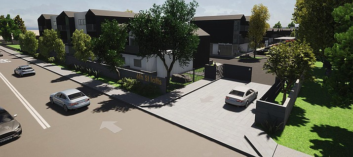 An artists rendition shows the 6th St. Lofts project, a 56-unit multi-family development that is being planned for 75 S. 6th St. in Cottonwood. The City of Cottonwood Planning and Zoning Commission is scheduled to hold a meeting at 6 p.m. Monday, Oct. 18, 2021, to discuss a conditional use permit and design review of the project. (City of Cottonwood/Courtesy)