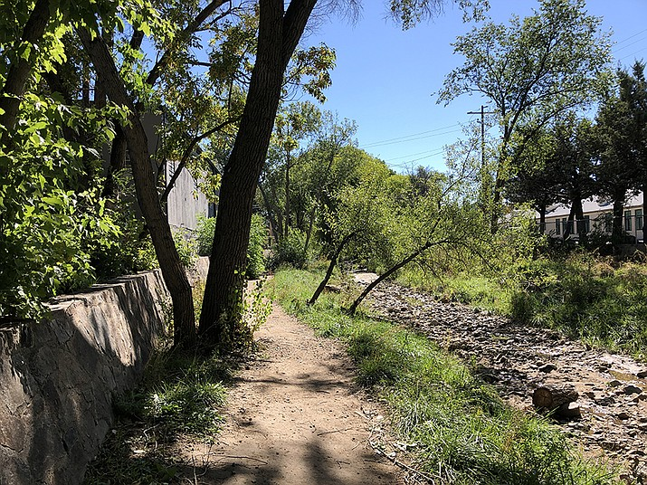 The City of Prescott has been planning for several years for improvements to the Granite Creek Corridor, including this section of the Greenway between Aubrey and Goodwin streets. The improvements aim to make the creek corridor safer and more user-friendly. (Cindy Barks/Courier)