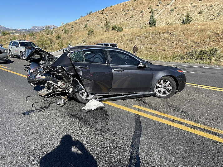 A three-vehicle collision closed westbound Highway 69 Wednesday morning at about 9 a.m. Two drivers suffered non-life-threatening injuries, with one being flown to a Phoenix-area hospital. The third driver was not injured. (Prescott Police Department/Courtesy)