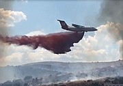 A heavy air tanker drops a load of slurry on the Bug Creek Fire on Tuesday afternoon, June 28, 2016.