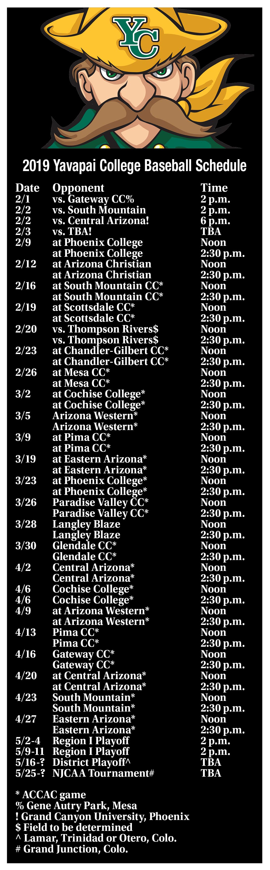 2019 Yavapai College Baseball Schedule The Daily Courier